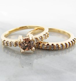Timeless Bridal Cognac Diamond Wedding Ring Set 18k, Wexford Standard