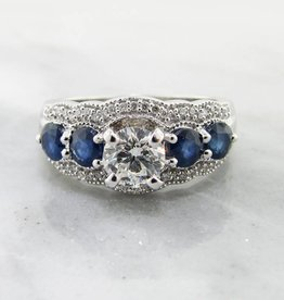 Timeless Bridal Diamond Sapphire White Gold Engagement Ring