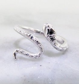 Organic Silver Black Diamond Ring, Garden Snake