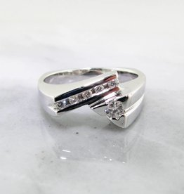 Sleek Diamond White Gold Ring, Geometric Bypass