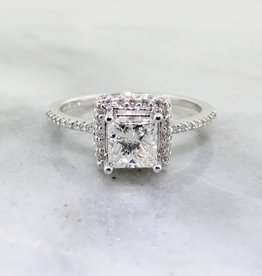 Timeless Bridal White Gold Diamond Engagement Ring, Princess Cut Halo