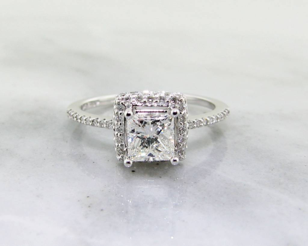 Timeless Bridal White Gold Diamond Engagement Ring, Princess Cut