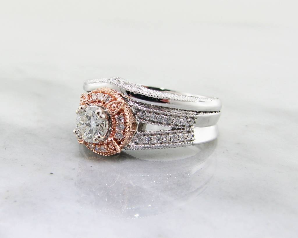 trending bridal two tone white rose gold diamond wedding ring set - Rose Gold Wedding Ring Set