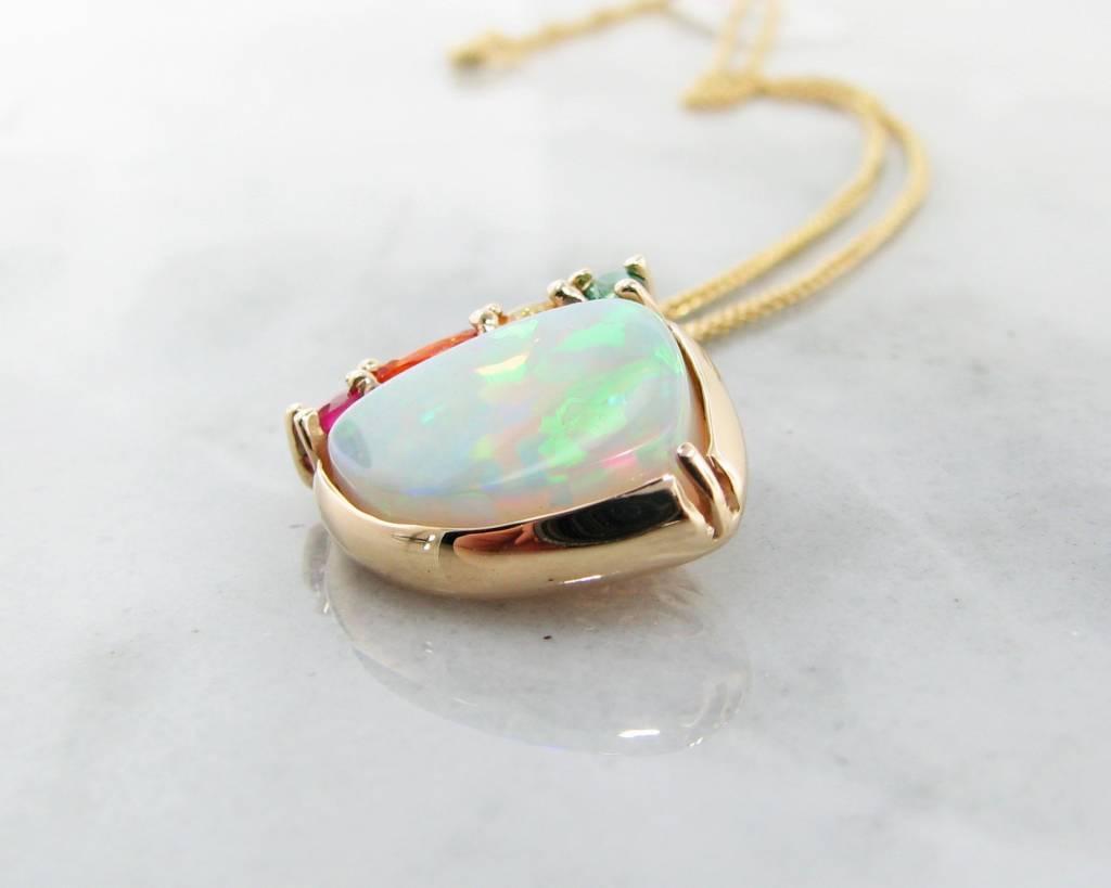 Sleek Opal Yellow Gold Multi-Gem Pendant, Juicy