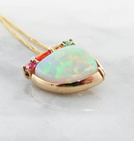 Sleek Opal Yellow Gold Multi-Gem Pendant, Juicy
