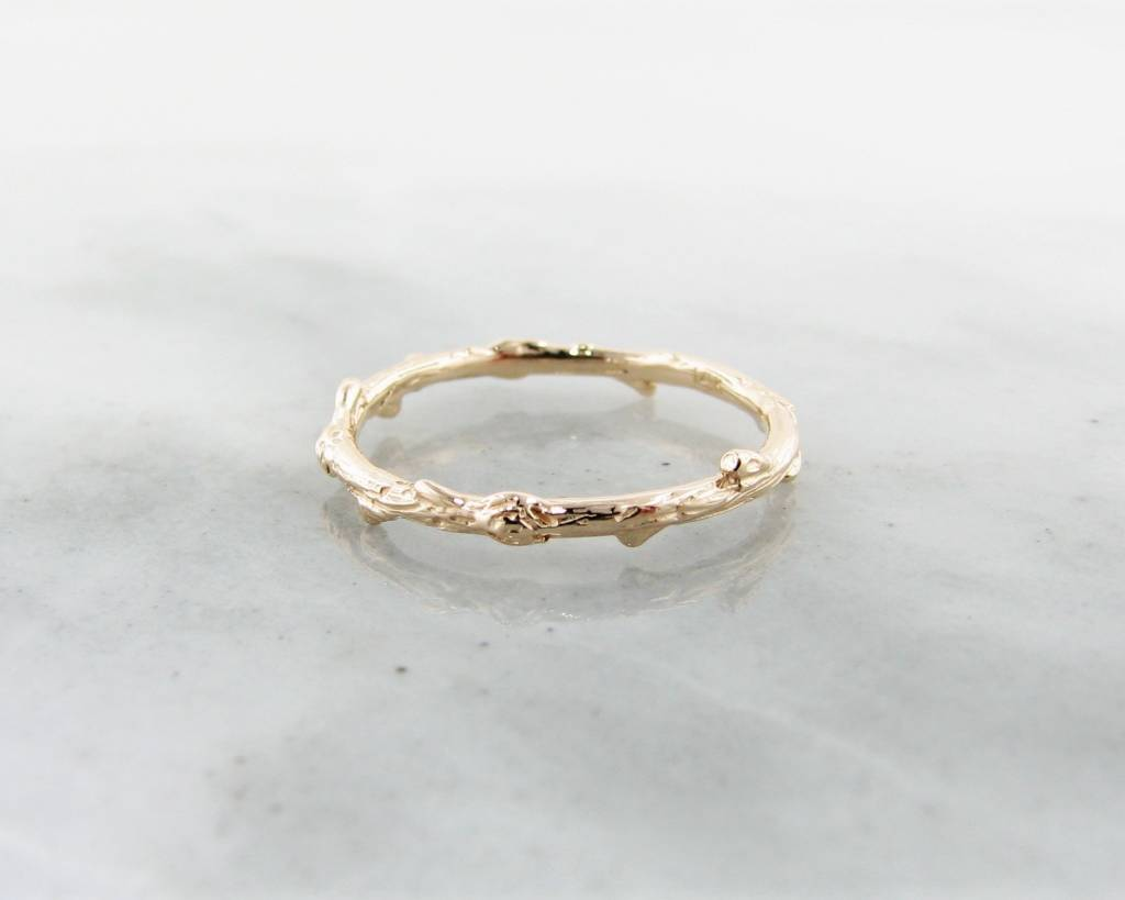 Rustic Yellow Gold Ring, Twig Band