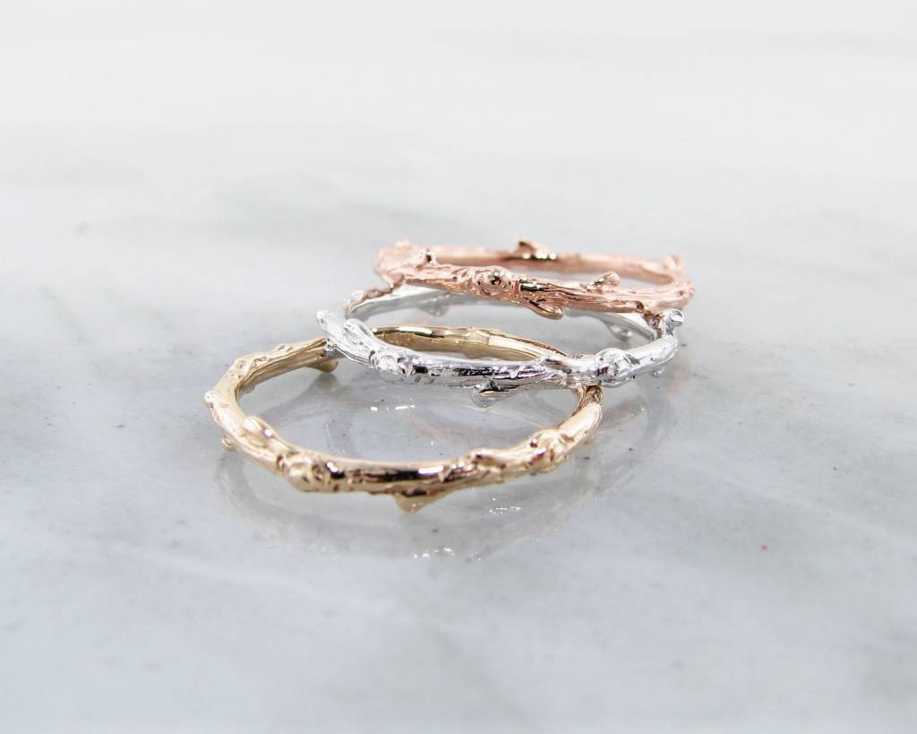 Rustic White Gold Ring, Twig Band