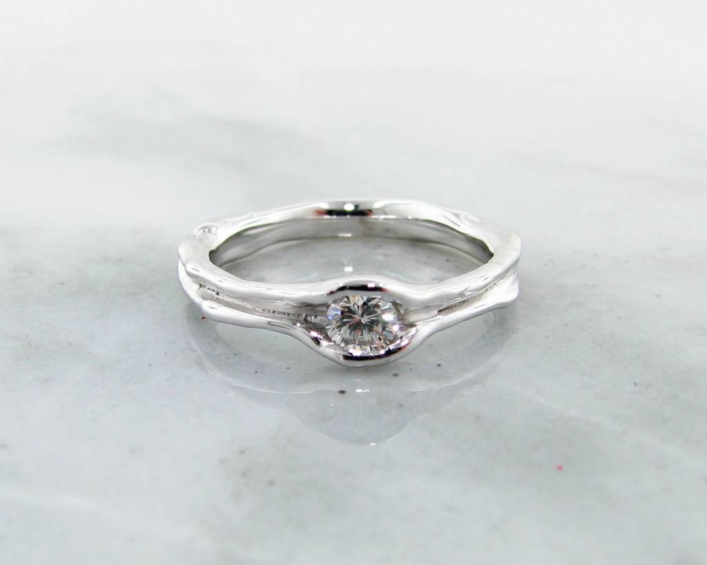 Rustic Diamond Solitaire White Gold Ring, Melted Band