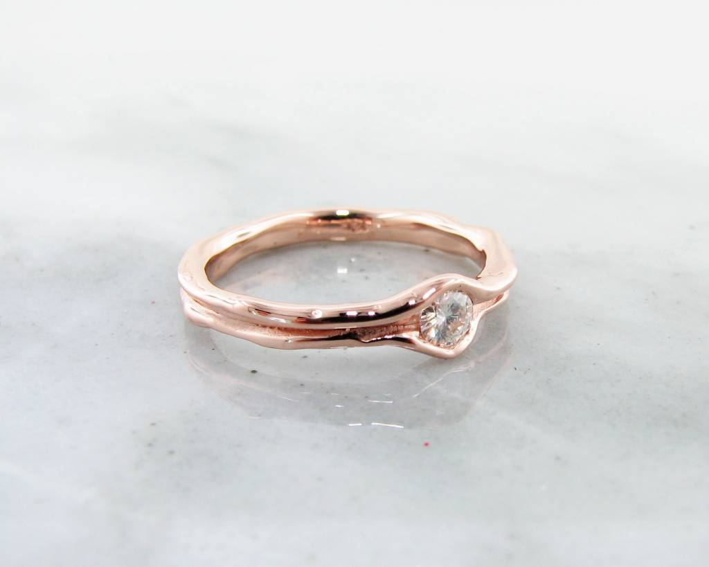 Rustic Diamond Rose Gold Solitaire Ring, Melted Band