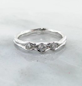 Rustic White Gold Diamond Ring, Three Stone Melted Band