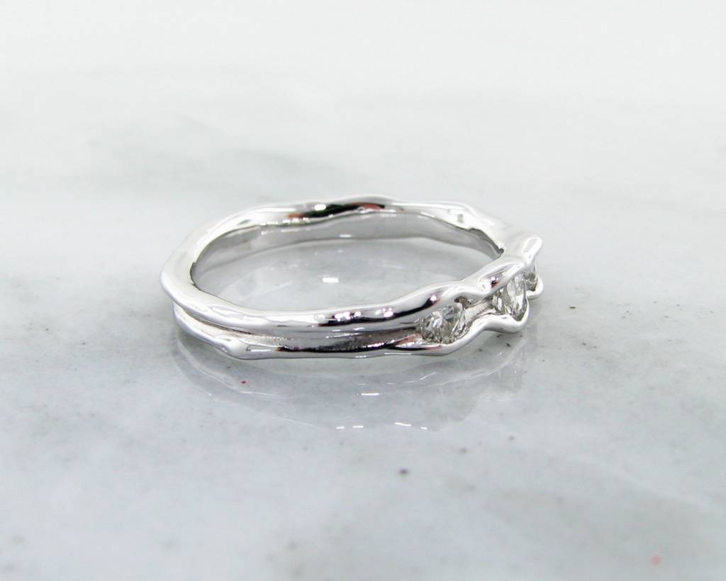 Rustic Diamond White Gold Band, Three Stone Melted