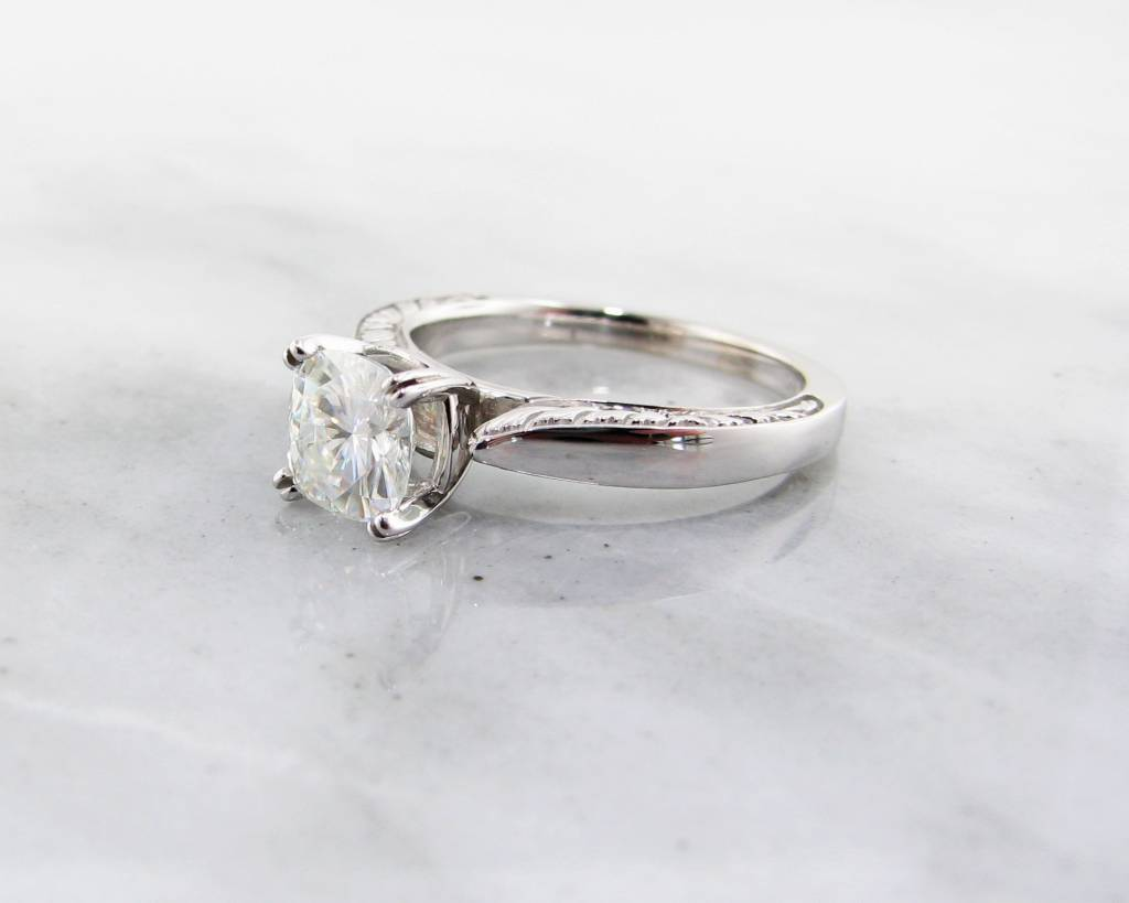 Timeless Bridal Moissanite White Gold Solitaire Ring, Antique Square