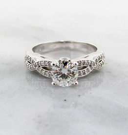 Trending Bridal Moissanite White Gold Engagement Ring, Sculptural