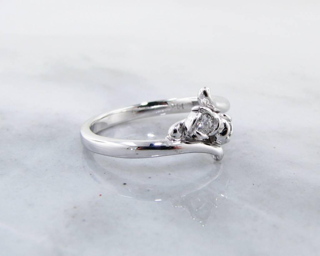 Signature Rose Diamond Two Stone White Gold Ring, Rosebud Bypass