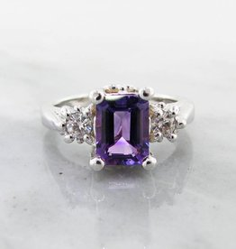Vintage Amethyst Moissanite Silver Ring, Old Paris