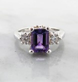 Vintage Amethyst Moissanite Silver Ring Old Paris