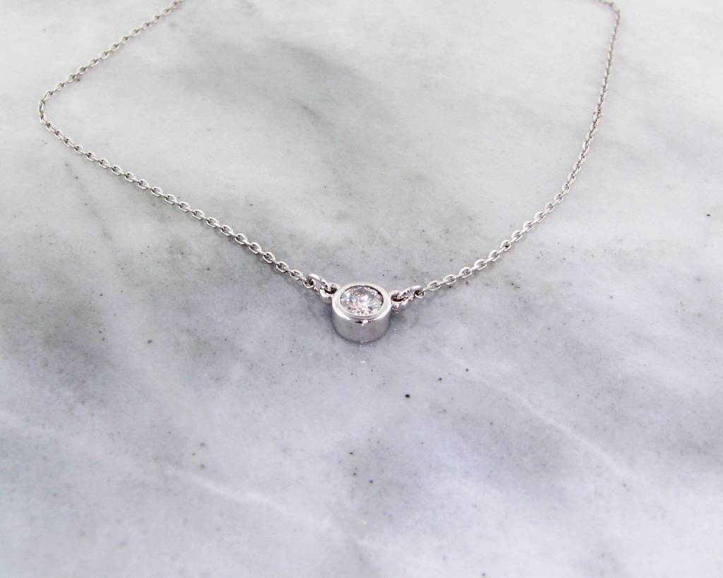 Vintage White Gold Diamond Split Chain Necklace