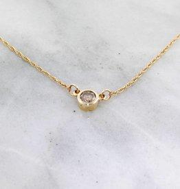 Sleek Cognac Diamond Yellow Gold Solitaire Necklace, 0.15ct Solitaire
