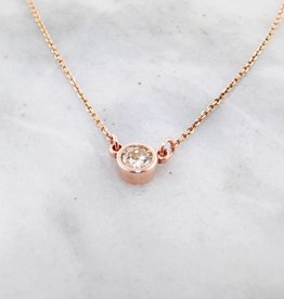 Sleek Diamond Rose Gold Station Necklace, 0.27ct Solitaire