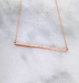 Sleek Diamond Rose Gold Bar Necklace