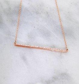 Sleek Diamond Rose Gold Bar Necklace