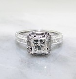 Trending Bridal White Gold 1ct Princess Cut Diamond Engagement Ring, Baguette Halo