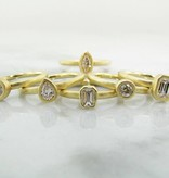 Sleek 18K Yellow Gold Antique Diamond Stacked Ring