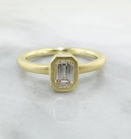 Sleek 18K Yellow Gold Stacked Emerald Cut Diamond .50ct