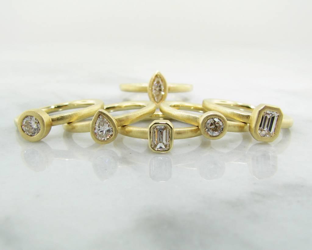 Sleek 18K Yellow Gold Stacked Emerald Cut Diamond .50ct