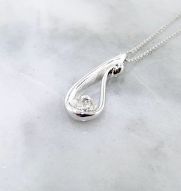 Motion Diamond White Gold Necklace, Raindrop
