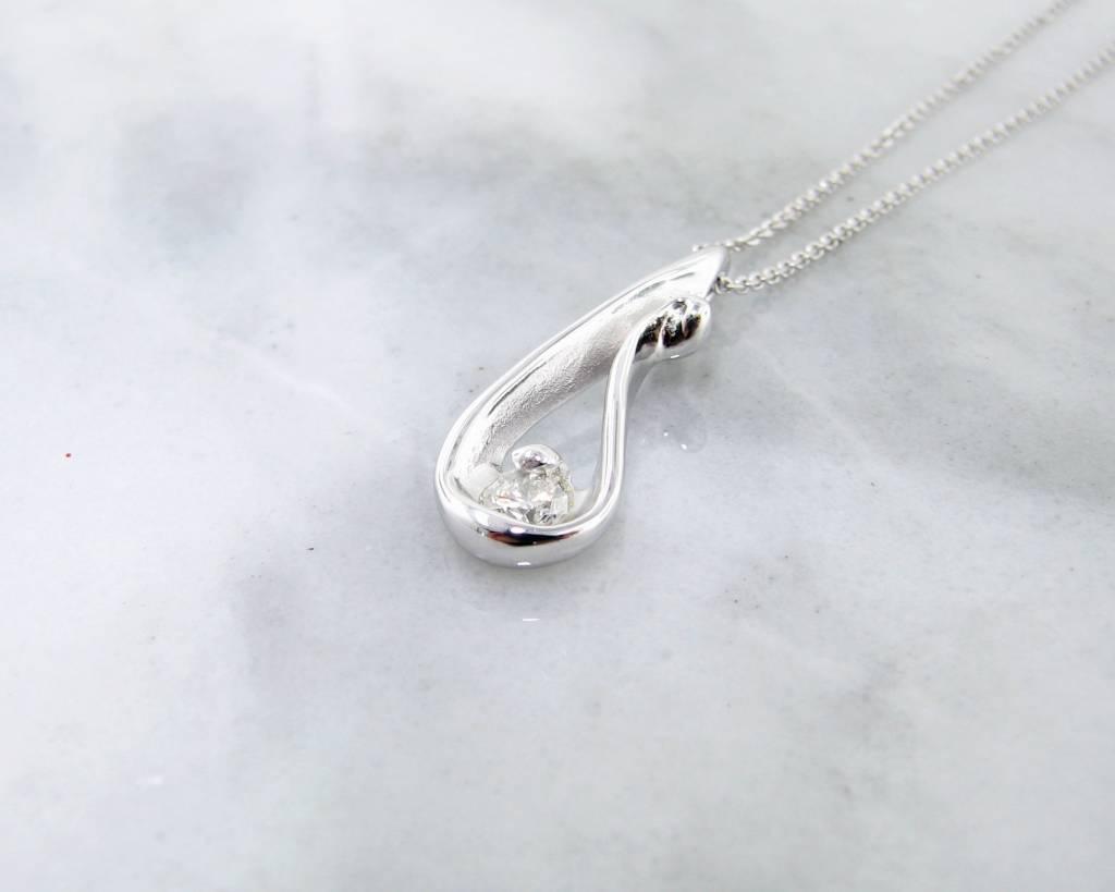 Motion Diamond White Gold Necklace, Raindrop