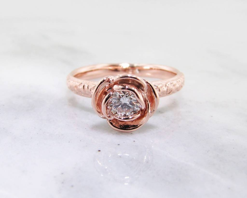 Signature Rose Diamond Rose Gold Ring, Stacked Solitaire Rose