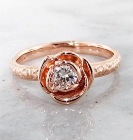 Signature Rose Rose Gold Diamond Ring, Stacking Solitaire Rose
