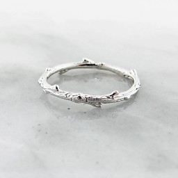 Rustic Silver Ring, Twig Band