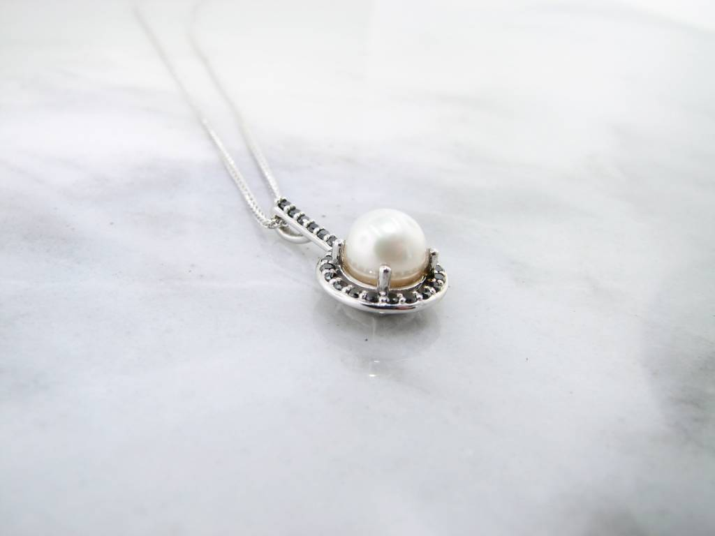 Sleek Pearl White Gold Necklace, Black Diamond Halo