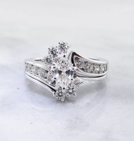 Timeless Bridal Marquise Diamond White Gold Wedding Set, Interlocking
