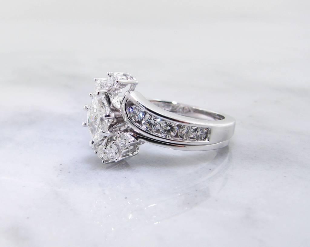 Timeless Bridal Diamond White Gold Wedding Set, Interlocking, Marquise