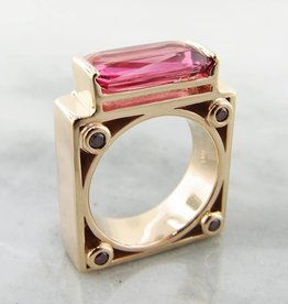 Sleek Tourmaline Diamond Yellow Gold Ring, Moon Gate