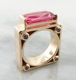 Sleek Tourmaline Diamond Yellow Gold Ring, Moon Gate