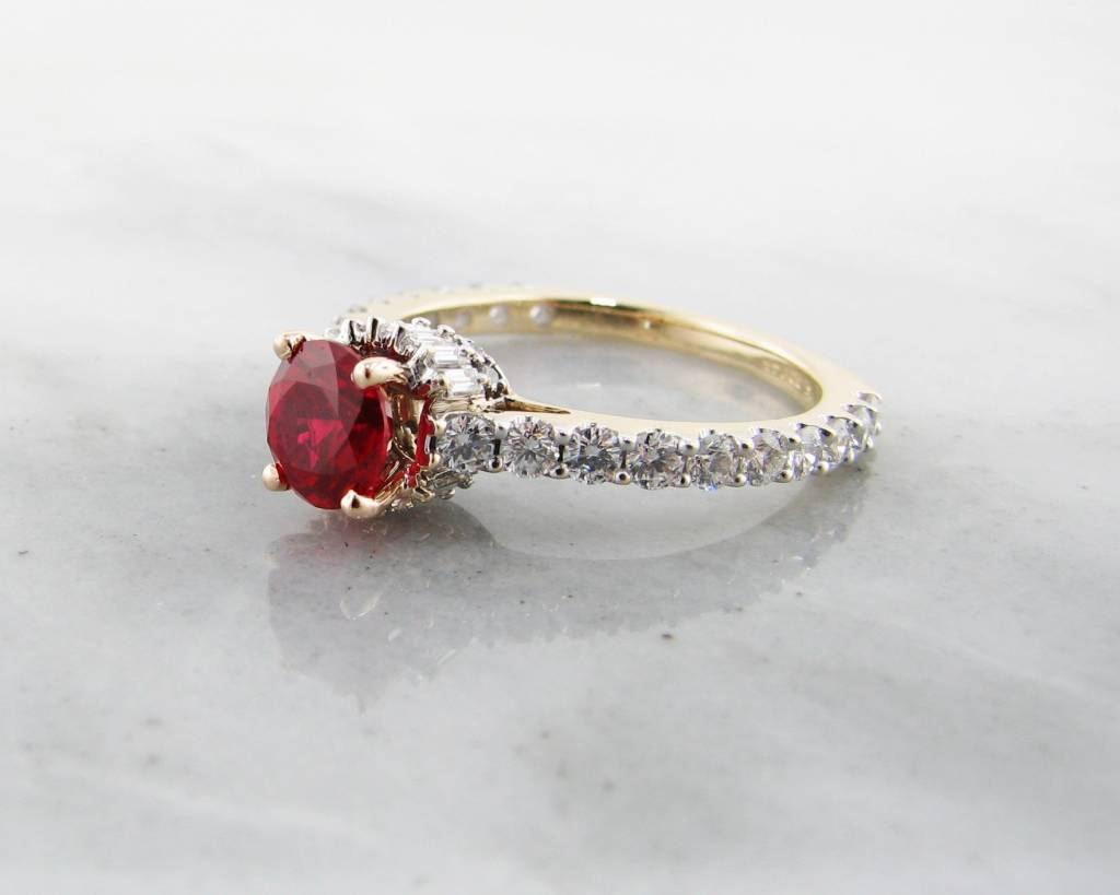 Trending Bridal Ruby Yellow Gold Ring, Baguette Diamond Collar