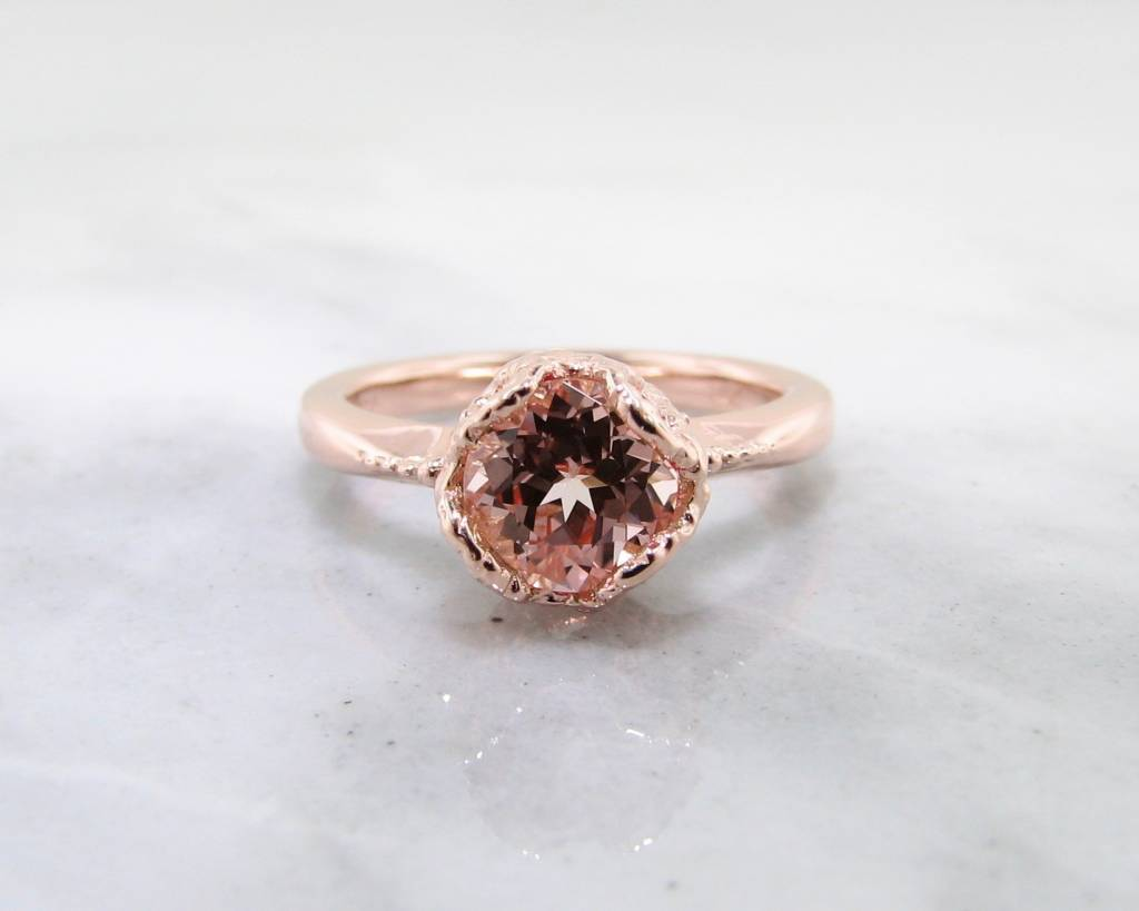 Champagne Sapphire Rose Gold Ring Lace Bezel Wexford Jewelers