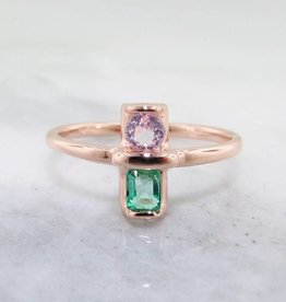 Sleek Morganite Emerald Rose Gold Ring, Two Stone Blush Boho