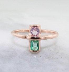 Sleek Morganite Emerald Rose Gold Ring, Two Stone Blush Boho