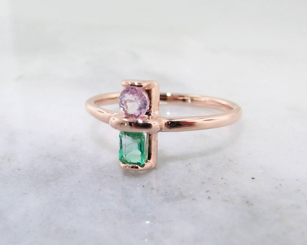 Morganite Emerald Rose Gold Ring Two Stone Blush Wexford Jewelers