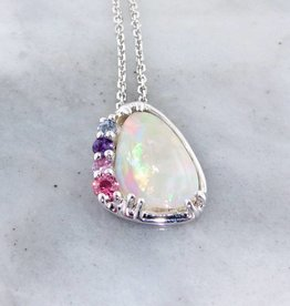 Sleek Opal Silver Necklace, Cotton Candy Multi-Gem