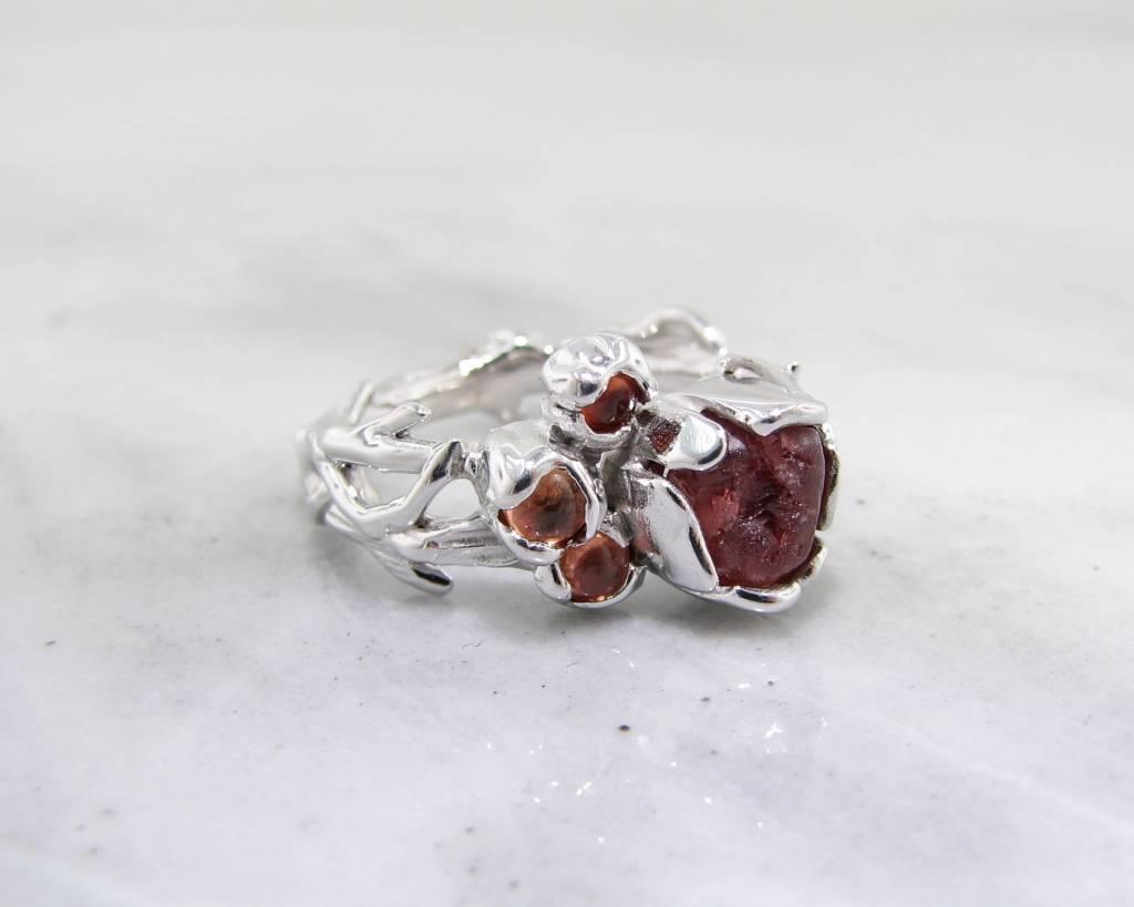 Rustic Raw Sapphire Silver Ring, Autumn Dewdrops