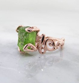 Motion Raw Peridot Rose Gold Ring, Baroque Swirls