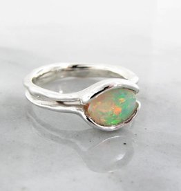 Organic Opal Silver Ring, Melted Split Bezel