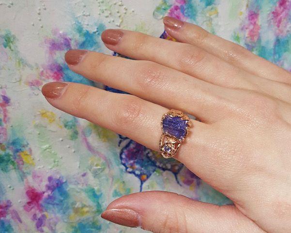 Rustic Raw Tanzanite Rose Gold Ring, Woodland Dream