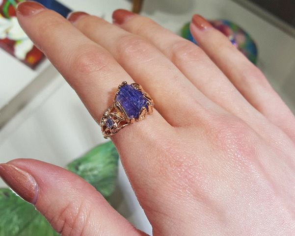 Rustic Raw Tanzanite Rose Gold Ring, Woodland Dream